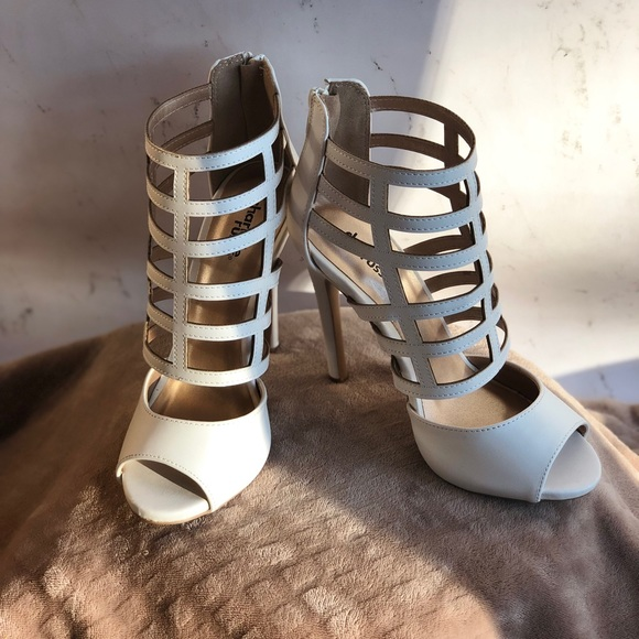 0f2cfdeaf2b Charlotte Russe White Caged Heel NWT